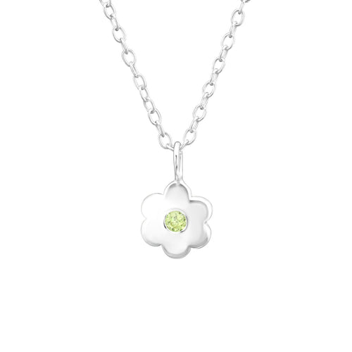 August Birthstone Light Green Peridot Sterling Silver Necklace