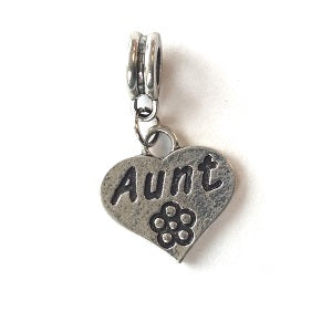 Silver Plated Aunt Heart Drop Charm