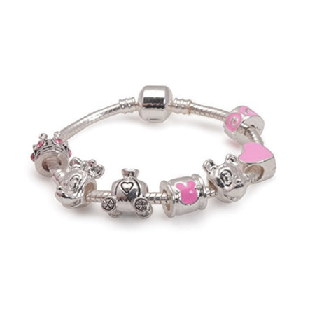 Children's 'Fairytale Dreams' Pink Leather Charm Bead Bracelet