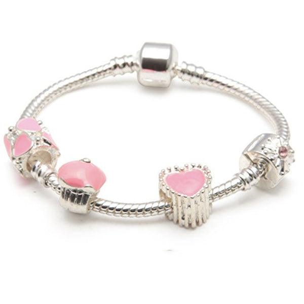Children's 'Love and Kisses' Silver Plated Charm Bead Bracelet
