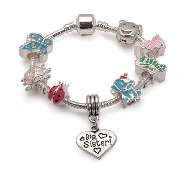 Children's Big Sister 'Animal Magic' Silver Plated Charm Bead Bracelet