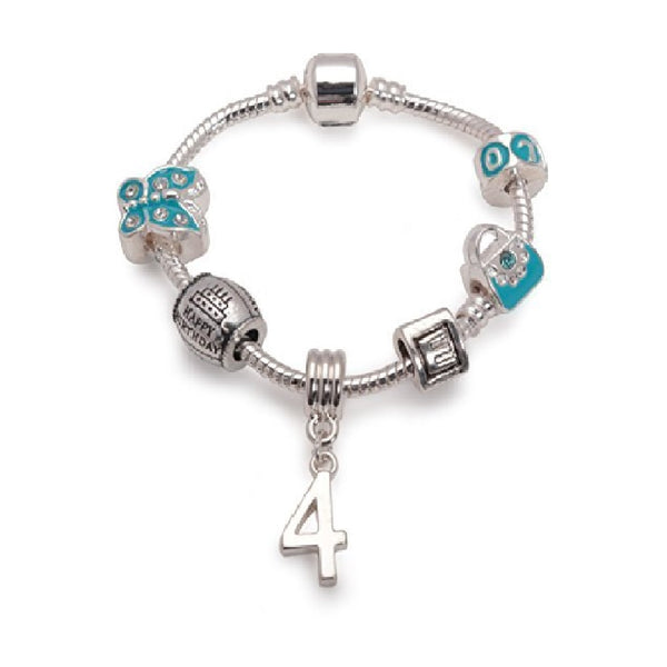 Children's Blue 'Happy 4th Birthday' Silver Plated Charm Bracelet