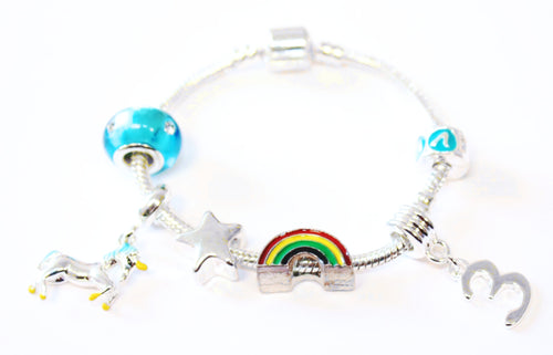 unicorn jewellery, unicorn bracelet, 3rd birthday gifts girl and charm bracelet gifts for 3 year old girl
