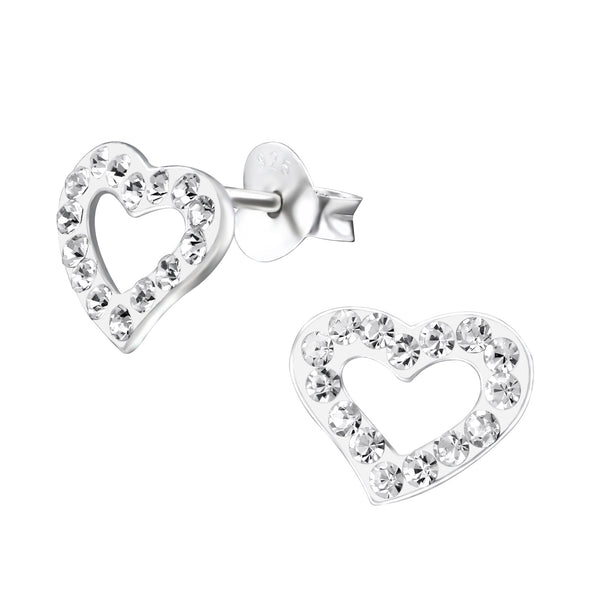 Children's Sterling Silver Open Heart Crystal Stud Earrings