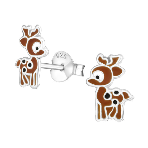 Children's Sterling Silver Christmas Reindeer Stud Earrings