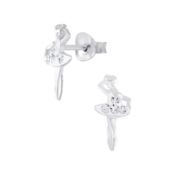 Children's Sterling Silver Ballerina With Clear Diamante Dress Stud Earrings
