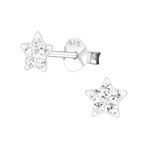 Children's Sterling Silver 'Crystal Star' Stud Earrings