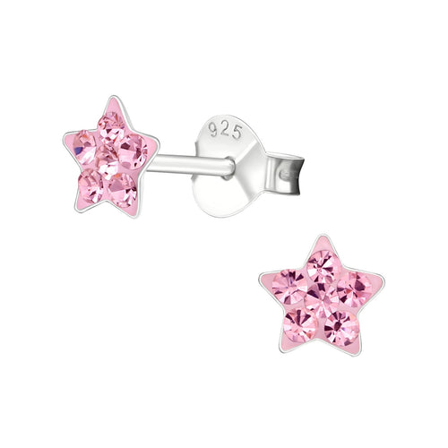 Children's Sterling Silver 'Pink Crystal Star' Stud Earrings