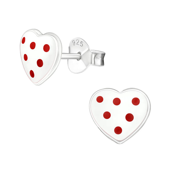 Children's Sterling Silver 'White Heart with Red Spots' Stud Earrings