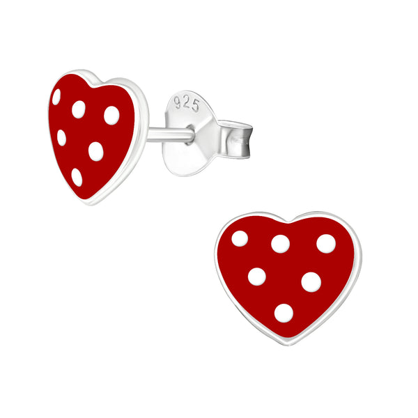 Children's Sterling Silver 'Red Heart with White Spots' Stud Earrings