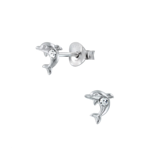 Children's Sterling Silver 'April Birthstone' Dolphin Stud Earrings