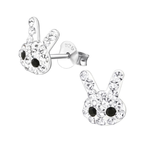Children's Sterling Silver Crystal Bunny Rabbit Stud Earrings