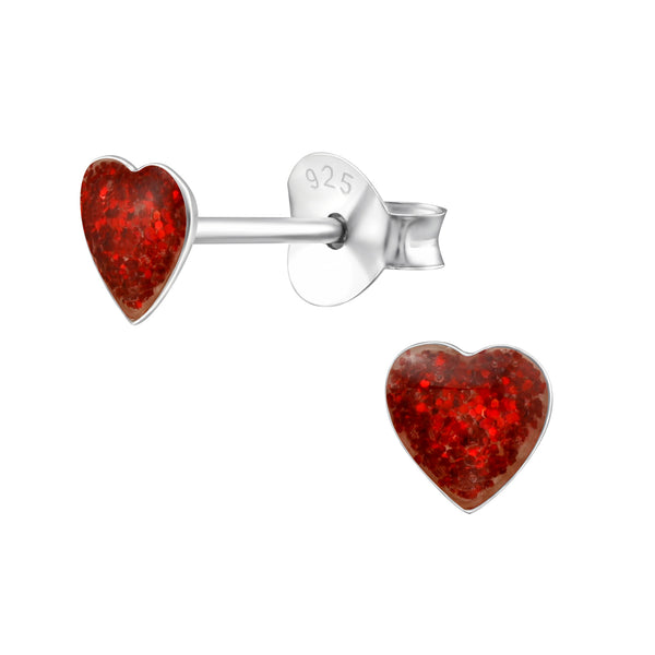 Children's Sterling Silver Red Glitter Heart Stud Earrings