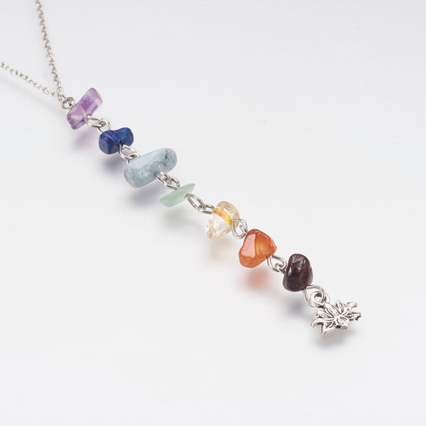 Adult's Chakra Natural Mixed Stone Pendant Necklace