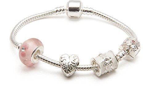 Adult's Best Friend 'Pink Parfait' Silver Plated Charm Bead Bracelet