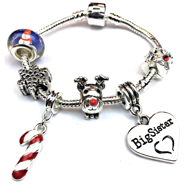 Children's Big Sister 'Christmas Wishes' Silver Plated Charm Bracelet
