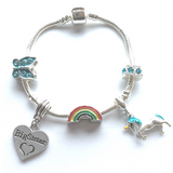 unicorn big sister bracelet gift with charms and beads