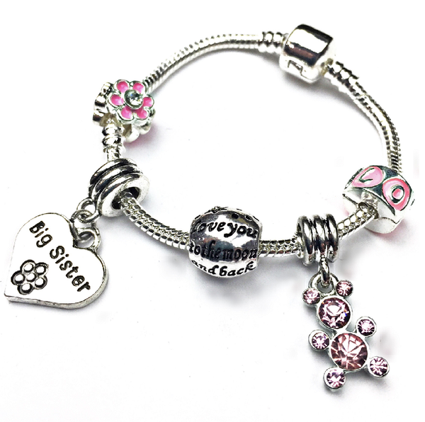 Children's Big Sister 'Pink Teddy' Silver Plated Charm Bead Bracelet