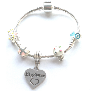 Children's Big Sister 'Happy Birthday Princess' Silver Plated Charm Bead Bracelet