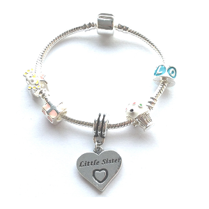 Children's Little Sister 'Happy Birthday Princess' Silver Plated Charm Bead Bracelet