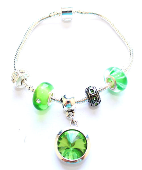 Adult's 'August Birthstone' Peridot Coloured Crystal Silver Plated Charm Bead Bracelet