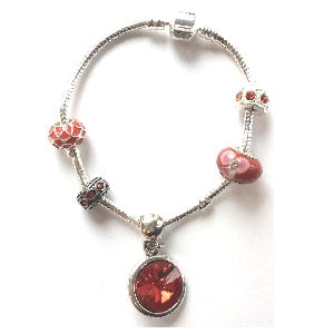 Teenager's 'January Birthstone' Garnet Coloured Crystal Silver Plated Charm Bead Bracelet