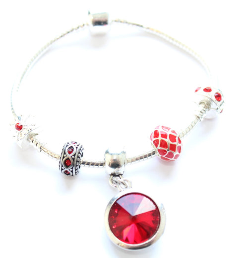 Adult's 'July Birthstone' Ruby Coloured Crystal Silver Plated Charm Bead Bracelet
