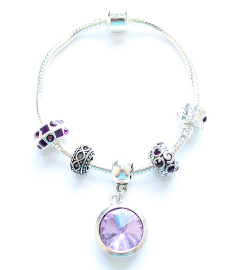 Adult's 'June Birthstone' Amethyst Coloured Crystal Silver Plated Charm Bead Bracelet