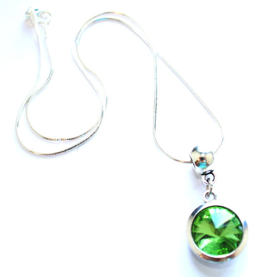 Silver Plated 'August Birthstone' Peridot Coloured Crystal Pendant Necklace