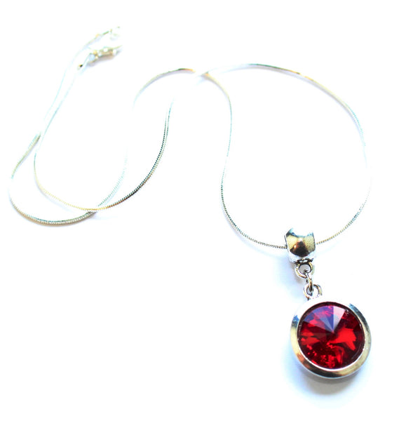 Silver Plated 'July Birthstone' Ruby Coloured Crystal Pendant Necklace