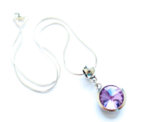 Silver Plated 'June Birthstone' Amethyst Coloured Crystal Pendant Necklace