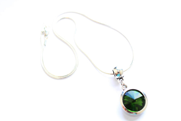 Silver Plated 'May Birthstone' Emerald Coloured Crystal Pendant Necklace