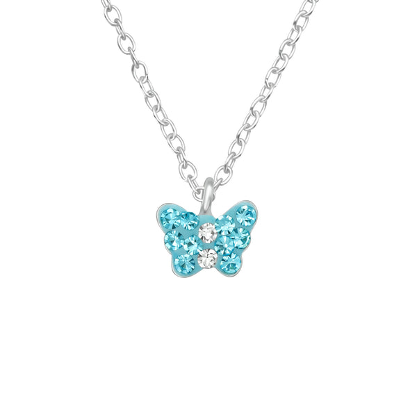 Children's Sterling Silver Blue Crystal Butterfly Pendant Necklace