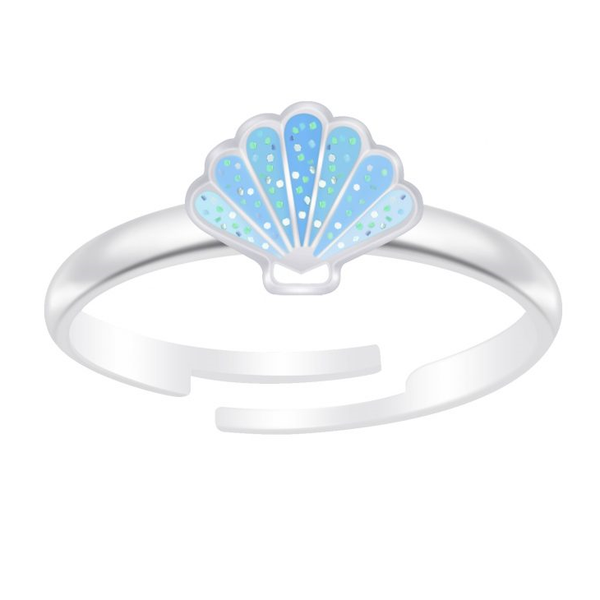 Children's Sterling Silver Adjustable Blue Glitter Shell Ring