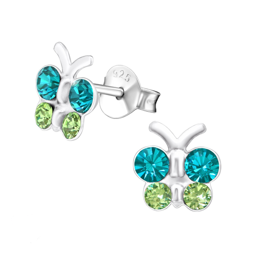 Children's Sterling Silver Blue and Green Diamante Butterfly Stud Earrings