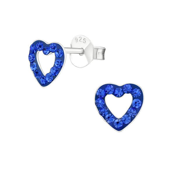 Children's Sterling Silver 'Sapphire Blue Crystal Love Heart' Stud Earrings