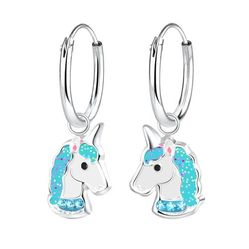 Children's Sterling Silver 'Blue Sparkle Unicorn' Hoop Earrings
