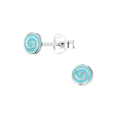 Children's Sterling Silver 'Blue Sweetie Swirl' Stud Earrings