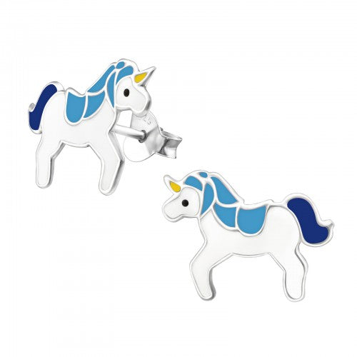 Children's Sterling Silver 'Blue Unicorn' Stud Earrings