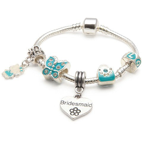 Children's Bridesmaid 'Blue Butterfly' Silver Plated Charm Bead Bracelet