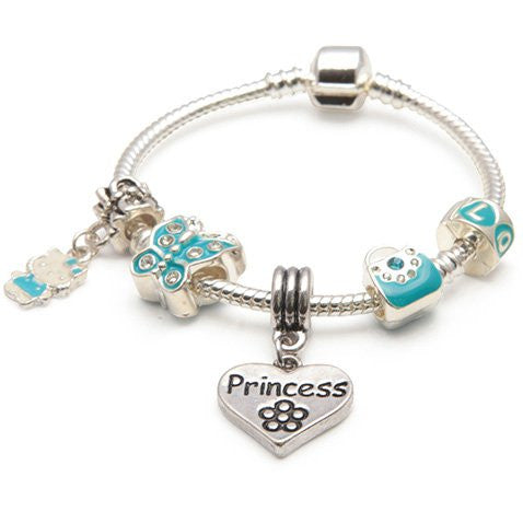 Children's Princess 'Blue Butterfly' Silver Plated Charm Bead Bracelet