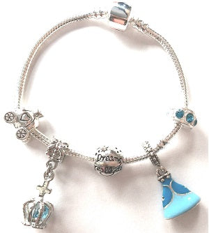 Children's Blue 'Fairytale Princess' Silver Plated Charm Bead Bracelet