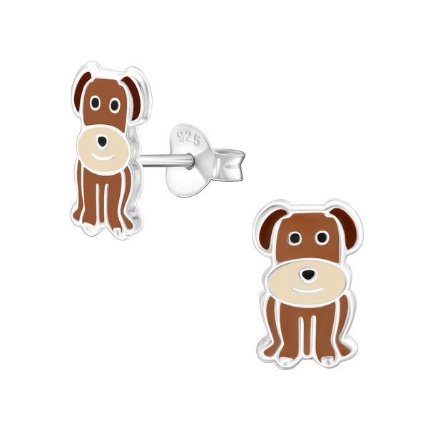 Children's Sterling Silver 'Brown Dog' Stud Earrings