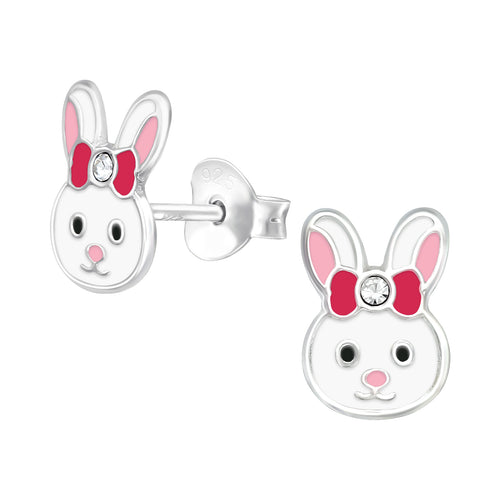 Children's Sterling Silver 'Bunny Rabbit With Crystal Bow' Stud Earrings