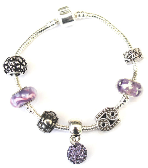 Cancer 'The Crab',  Zodiac Sign Silver Plated Charm Bracelet (June 21-July 22)