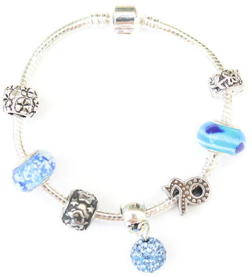 Capricorn, 'The Mountain Goat',  Zodiac Sign Silver Plated Charm Bracelet (Dec 22- Jan 19)