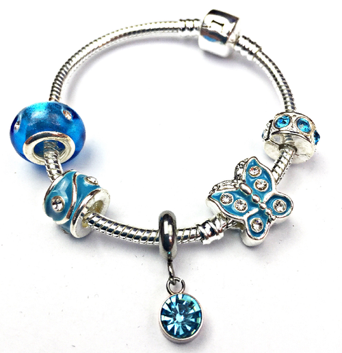 Children's 'December Birthstone' Turquoise Coloured Crystal Silver Plated Charm Bead Bracelet