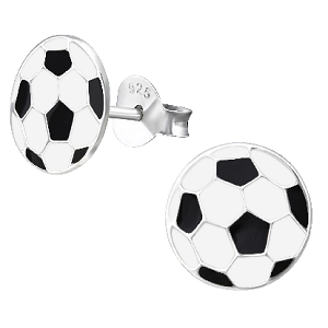 Children's Sterling Silver Football Stud Earrings