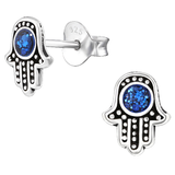 Children's Sterling Silver Hamsa Hand / Hand of Fatima Stud Earrings