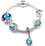 Children's 'March Birthstone' Aqua Coloured Crystal Silver Plated Charm Bead Bracelet